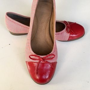 "Aerosoles ""Bectify"" Red Stripe Ballet Flats"